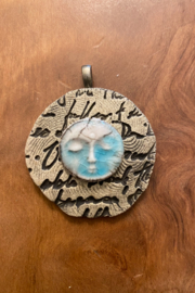 handmade  Handmade Clay Moon Face Pendant - Product Mini Image