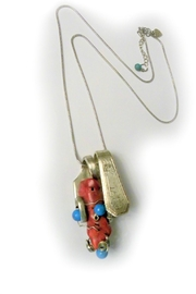 Mimi's Gift Gallery Handmade Coral/turquoise Fork - Product Mini Image