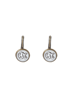 Shoptiques Product: Bronze Monogrammed Earrings