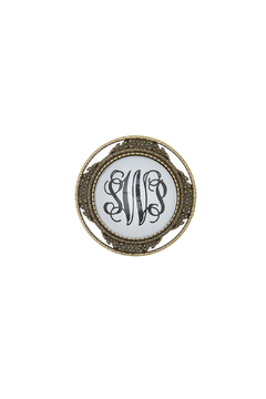 Shoptiques Product: Bronze Monogrammed Brooch