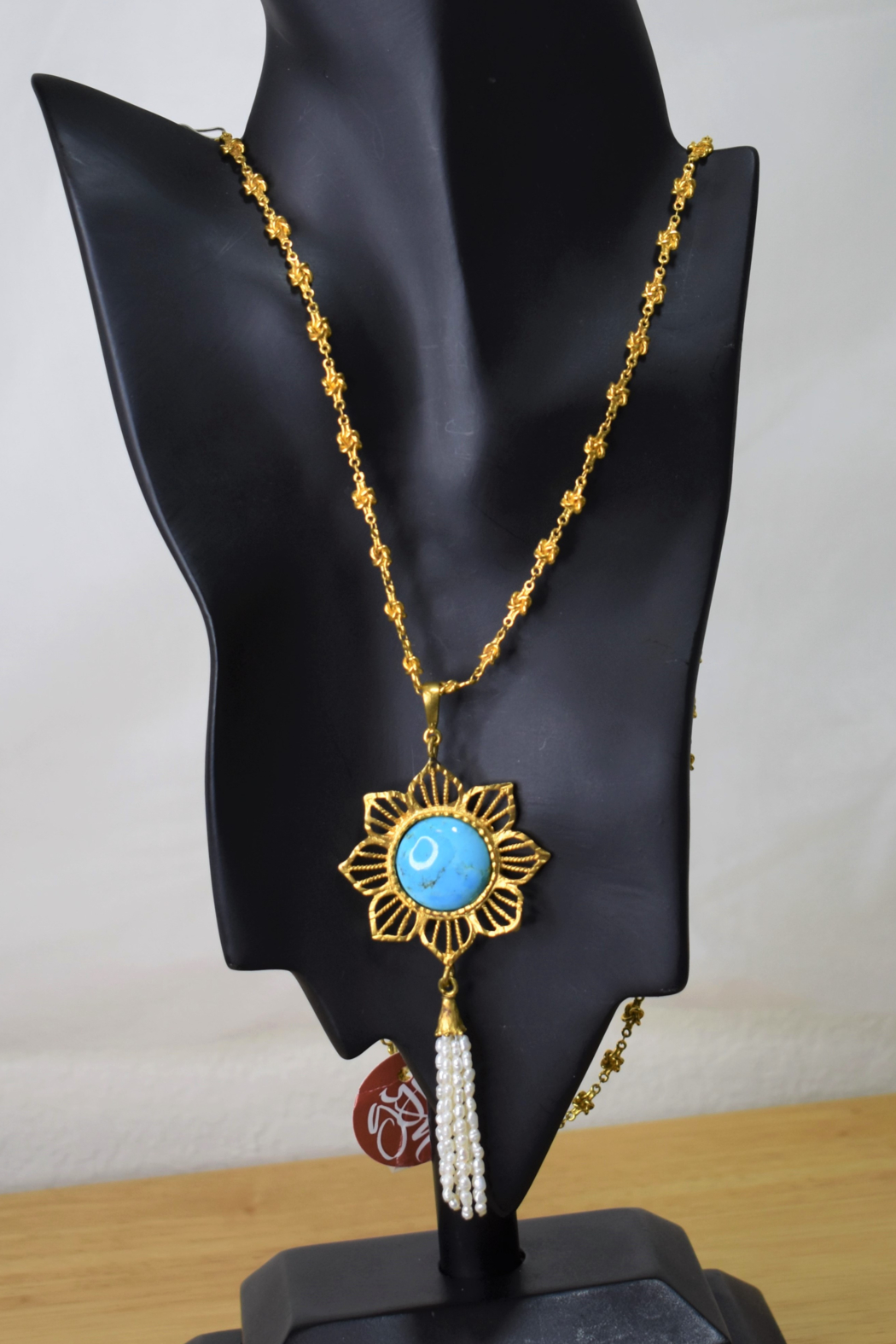 Gypsy Handmade Handmade Genuine Turquoise & Pearl Necklace - Front Full Image