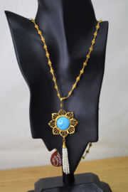 Gypsy Handmade Handmade Genuine Turquoise & Pearl Necklace - Front full body