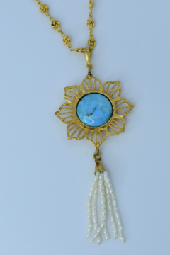 Gypsy Handmade Handmade Genuine Turquoise & Pearl Necklace - Product List Image