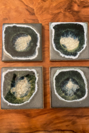 tesoro  Handmade Pottery with Fused Glass Coasters - Front cropped