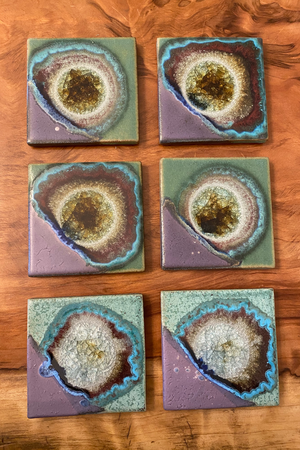 tesoro  Handmade Pottery with Fused Glass Purple and Teal Coasters - Main Image