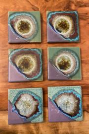 tesoro  Handmade Pottery with Fused Glass Purple and Teal Coasters - Front cropped