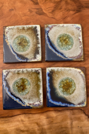tesoro  Handmade Pottery with Fused Glass Purple Coasters - Product Mini Image