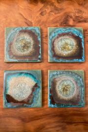 tesoro  Handmade Pottery with Fused Glass Teal Coasters - Front cropped