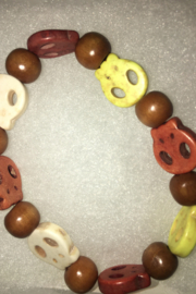 Hope With Hands Handmade Wooden Skull Bracelet Multi Color w/Neutrals/ Unisex - Front cropped
