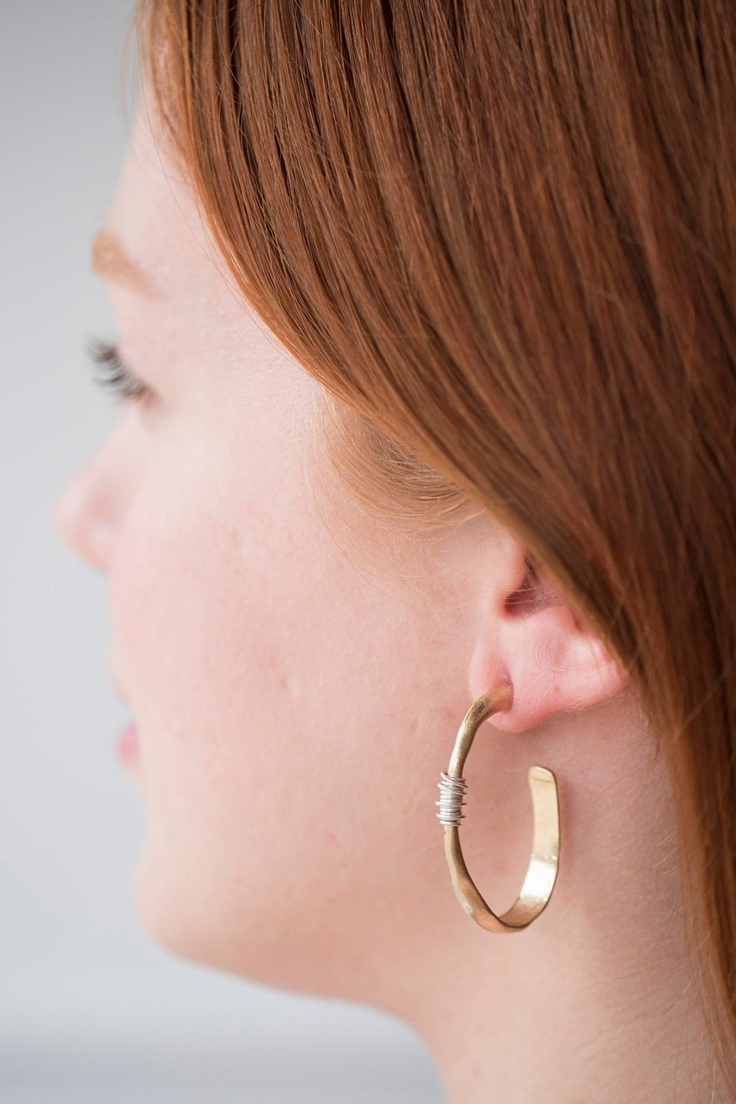 Handmade by local NY artist Brass Hammered Earring - Front Cropped Image