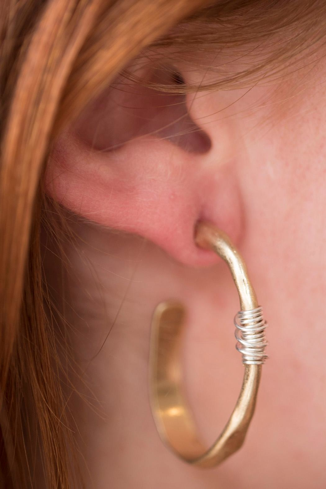 Handmade by local NY artist Brass Hammered Earring - Front Full Image