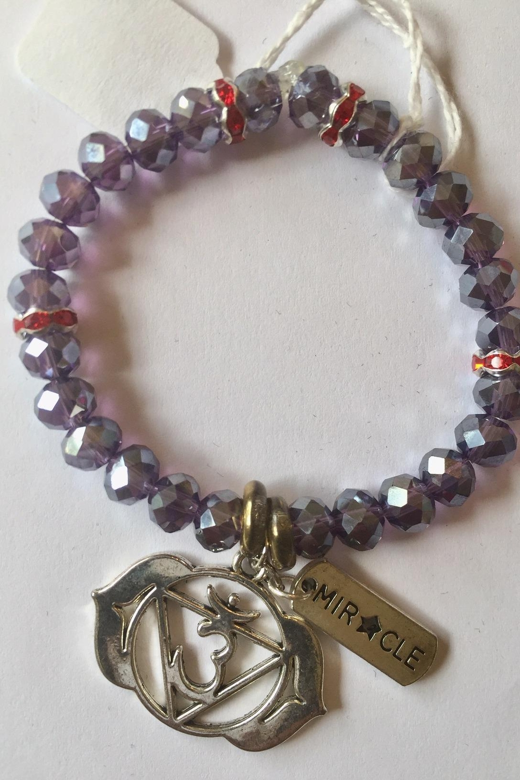 Handmade by local NY artist Designer Spiritual Bracelet With Aum And Miracle Charm - Main Image