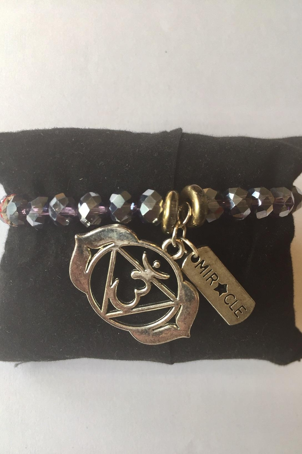 Handmade by local NY artist Designer Spiritual Bracelet With Aum And Miracle Charm - Front Full Image