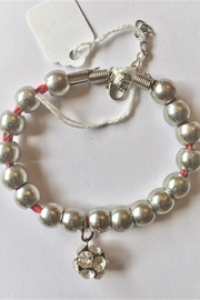 Handmade by local NY artist Silver Beads Bracelet With Crystal Ball Charm - Product Mini Image