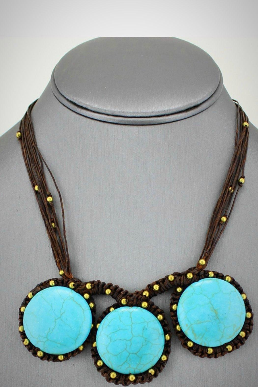 Embellish Handwoven Turquoise Necklace - Front Full Image