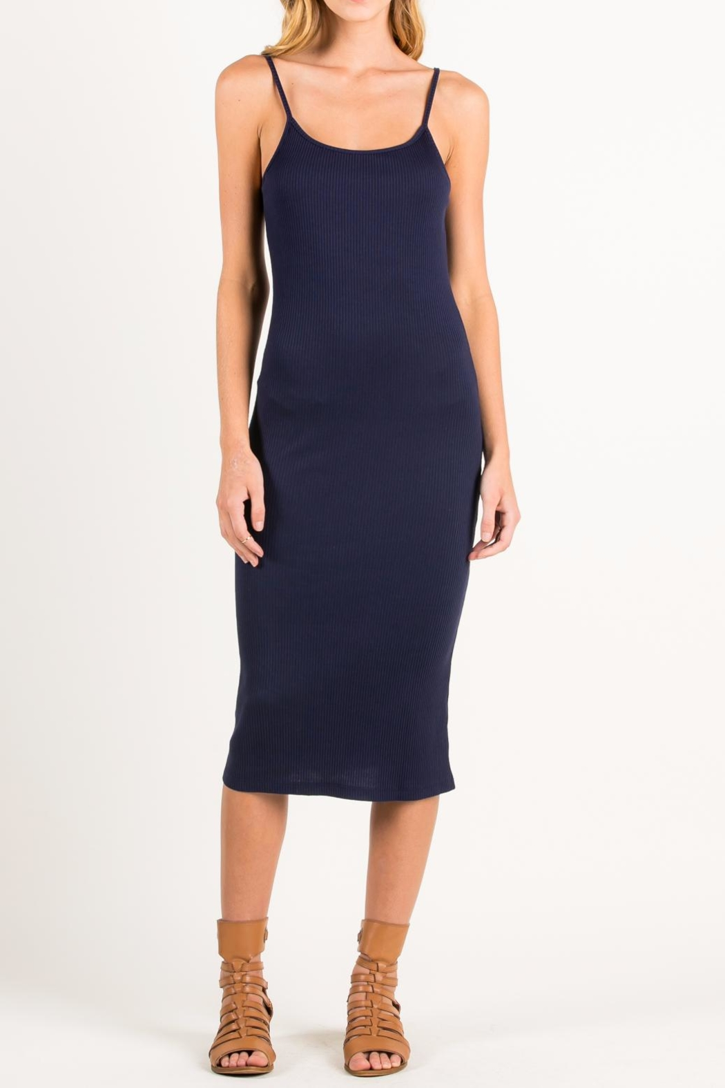 Hanger Navy Midi Dress - Front Cropped Image