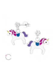 Silver Jewels Hanging Crystal Unicorn Silver Stud Earrings - Front cropped