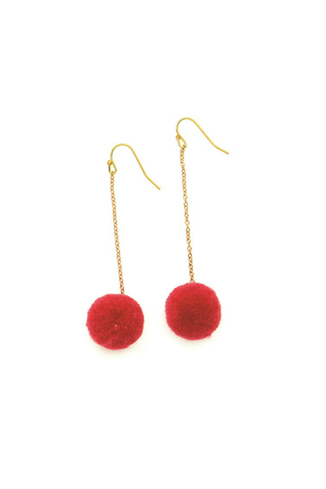 Two's Company Hanging PomPom Earrings - Front Cropped Image