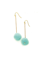 Two's Company Hanging PomPom Earrings - Front cropped