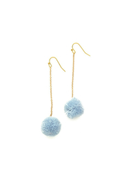 Two's Company Hanging PomPom Earrings - Product Mini Image