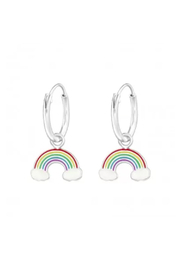 Silver Jewels Hanging Rainbow Silver Hoop Earrings - Front cropped