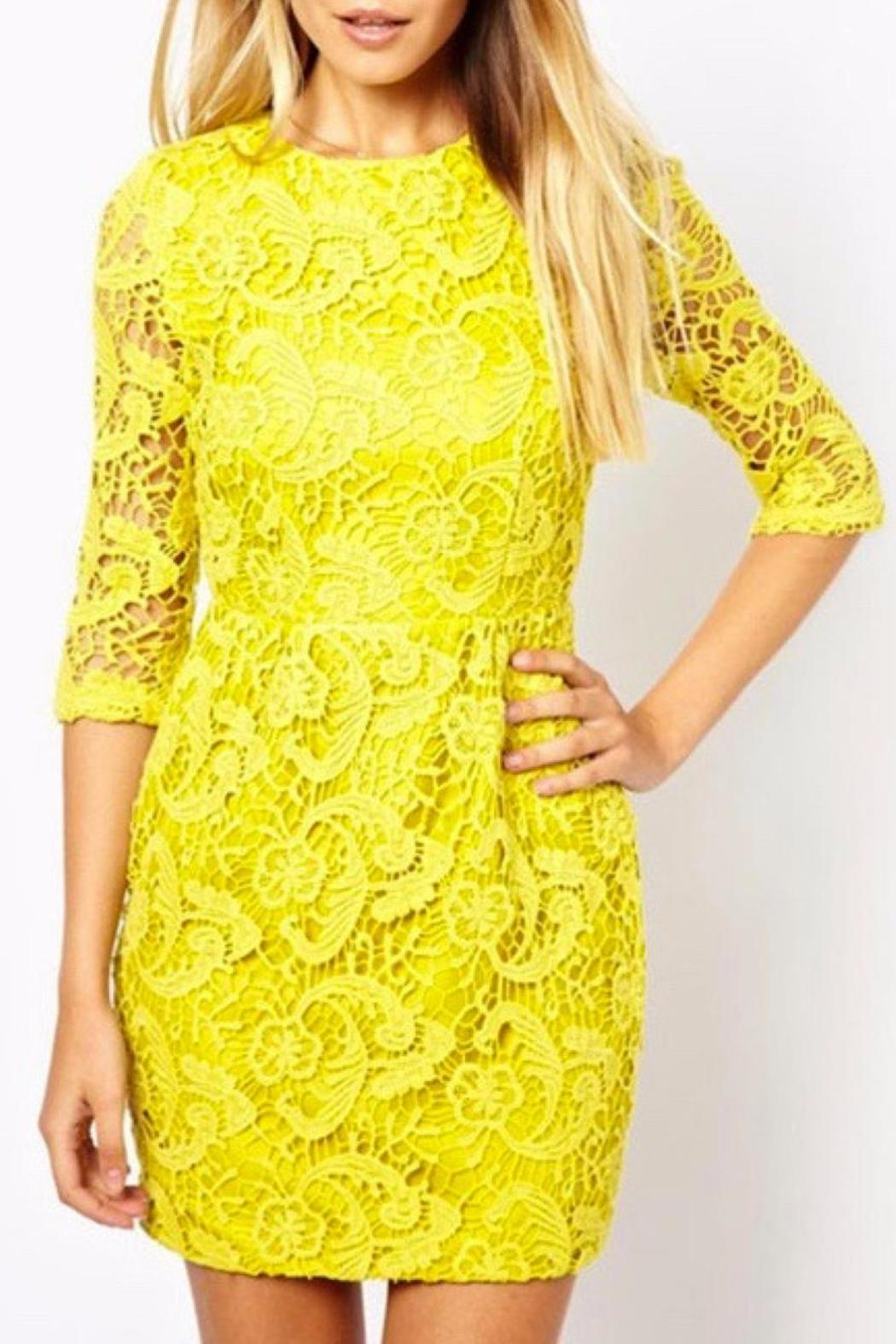 Haoduoyi Yellow Lace Dress - Front Cropped Image