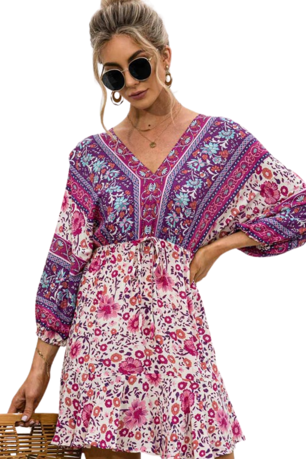 Esley  Happiness Print Dress - Side Cropped Image