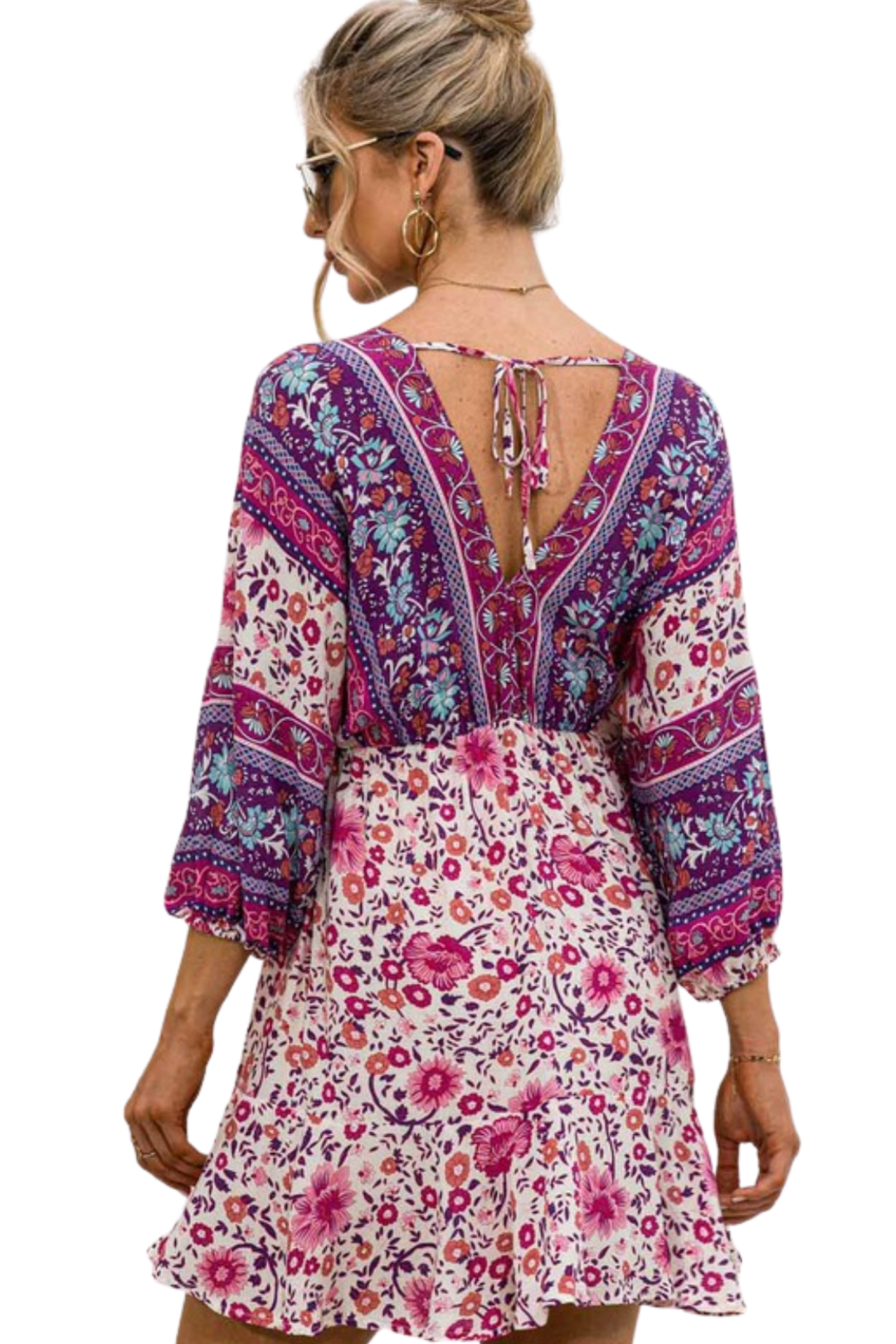 Esley  Happiness Print Dress - Back Cropped Image