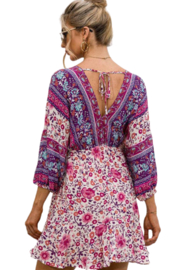 Esley  Happiness Print Dress - Back cropped