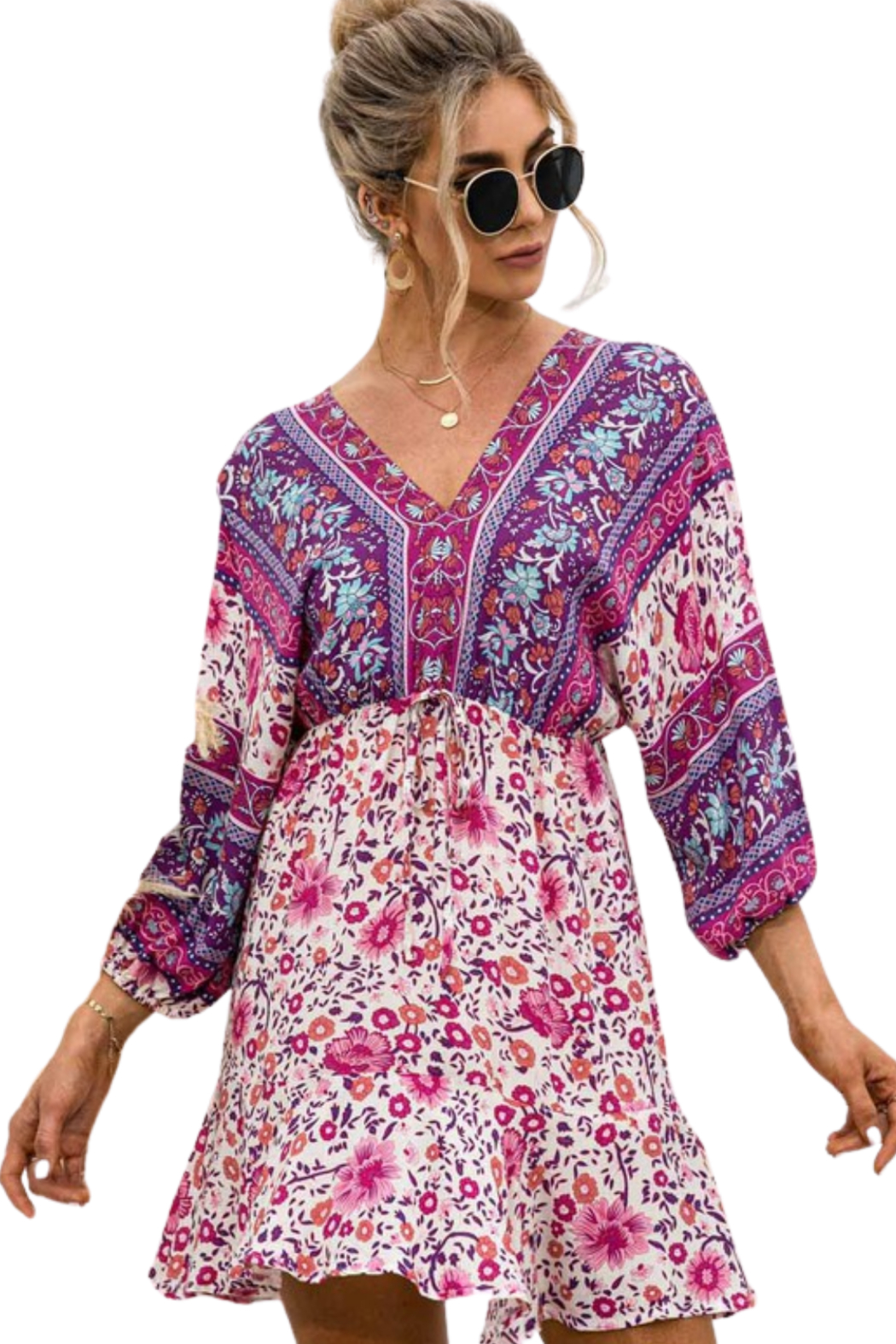 Esley  Happiness Print Dress - Front Cropped Image