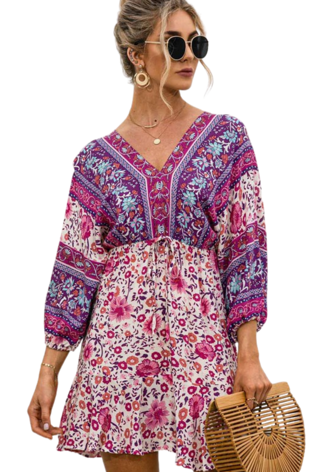Esley  Happiness Print Dress - Front Full Image