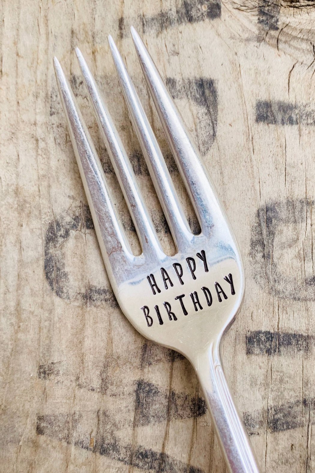 Pumpernickel and Wry Happy Birthday Fork - Front Full Image