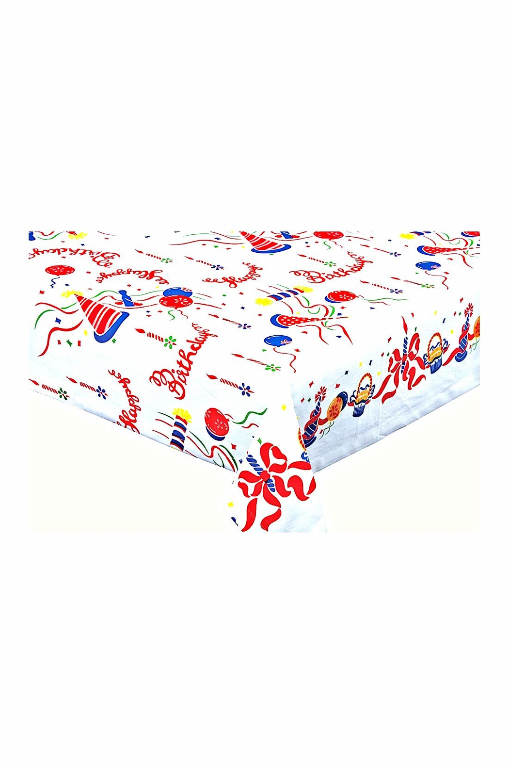 Red and White Kitchen Co. Happy Birthday Tablecloth - Front Full Image