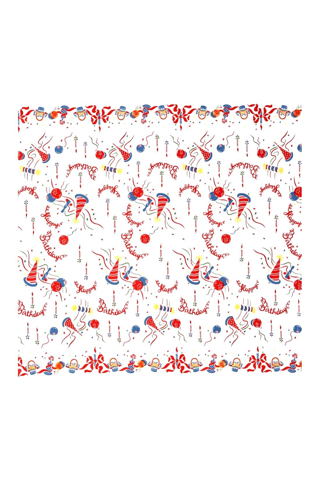 Red and White Kitchen Co. Happy Birthday Tablecloth - Main Image