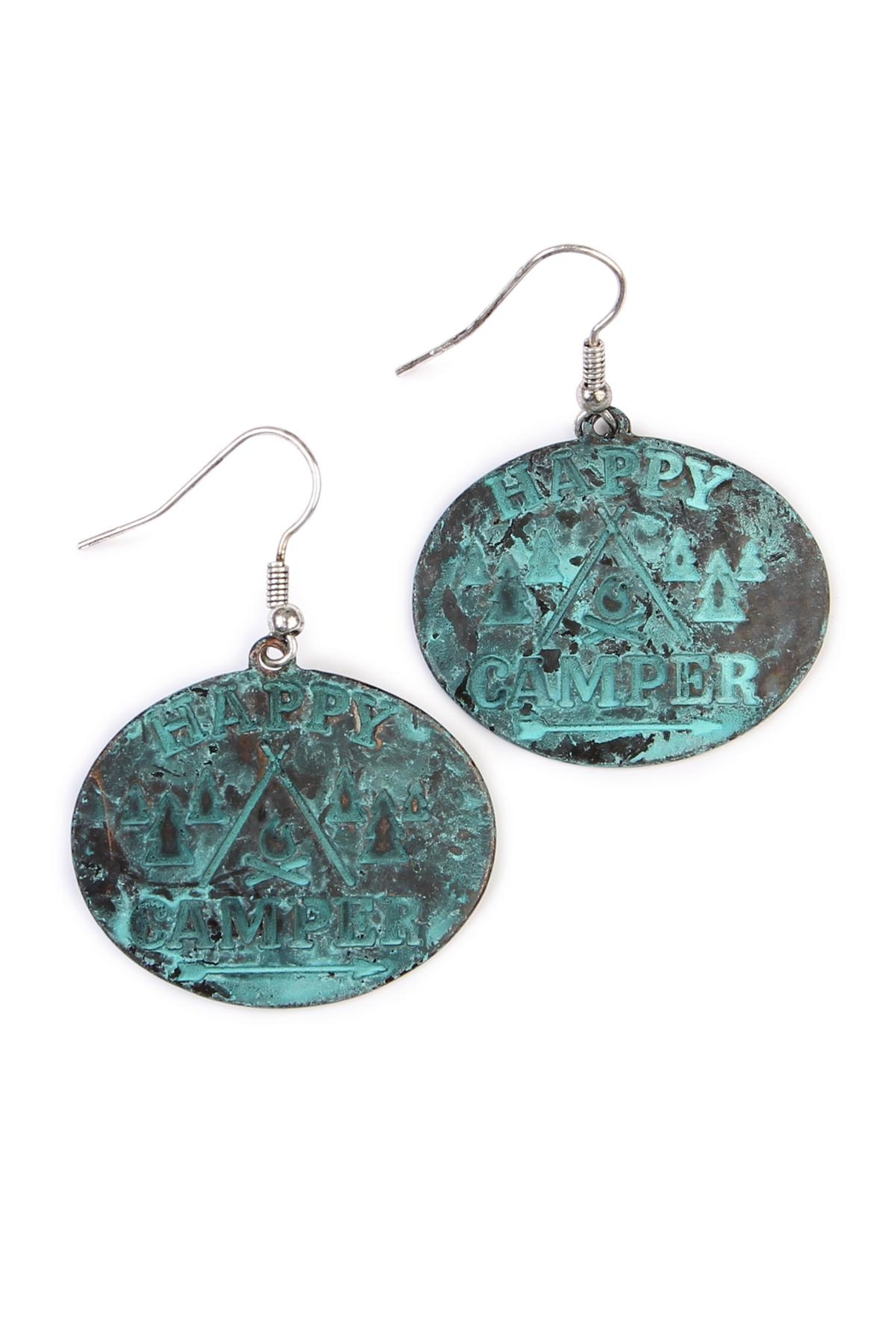 Riah Fashion Happy Camper Earrings - Front Cropped Image