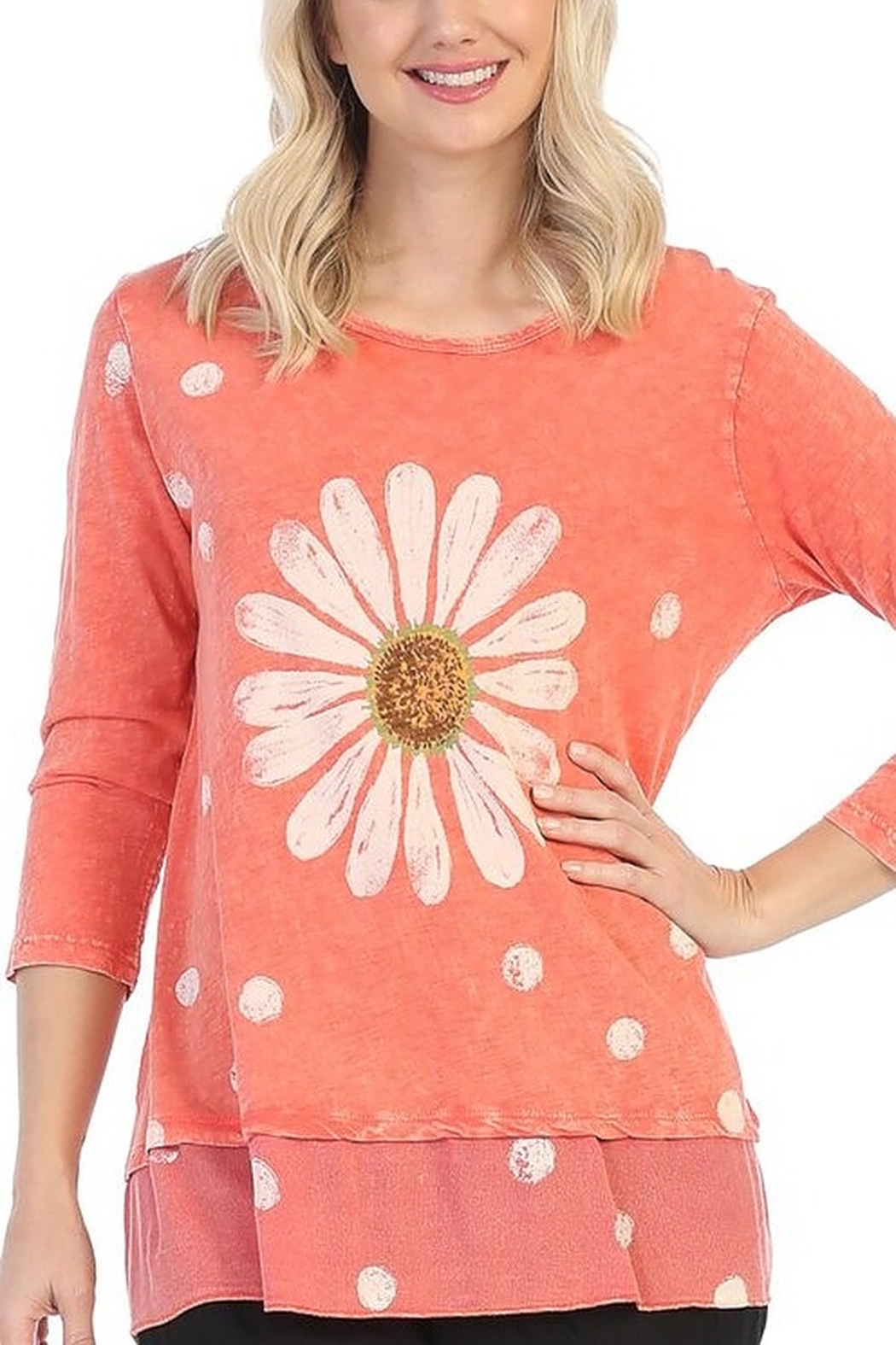 Jess & Jane Happy Days Floral Printed Mineral Washed Tunic Top - Main Image