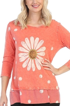 Jess & Jane Happy Days Floral Printed Mineral Washed Tunic Top - Alternate List Image
