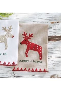 Mud Pie Happy Reindeer Towel - Alternate List Image