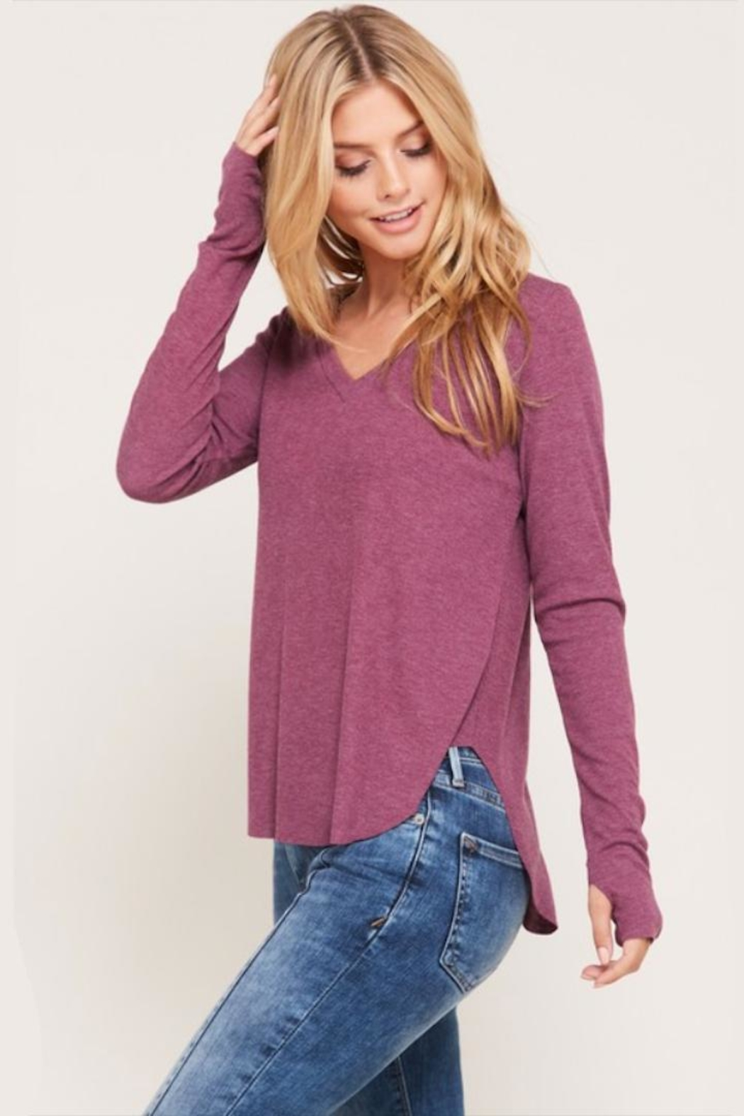 Happy Days USA Heathered Berry V-Neck - Front Full Image