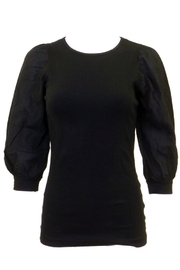 Hard Tail Crew Neck 3/4 Bubbled Sleeve Cotton Top T-158 - Product Mini Image