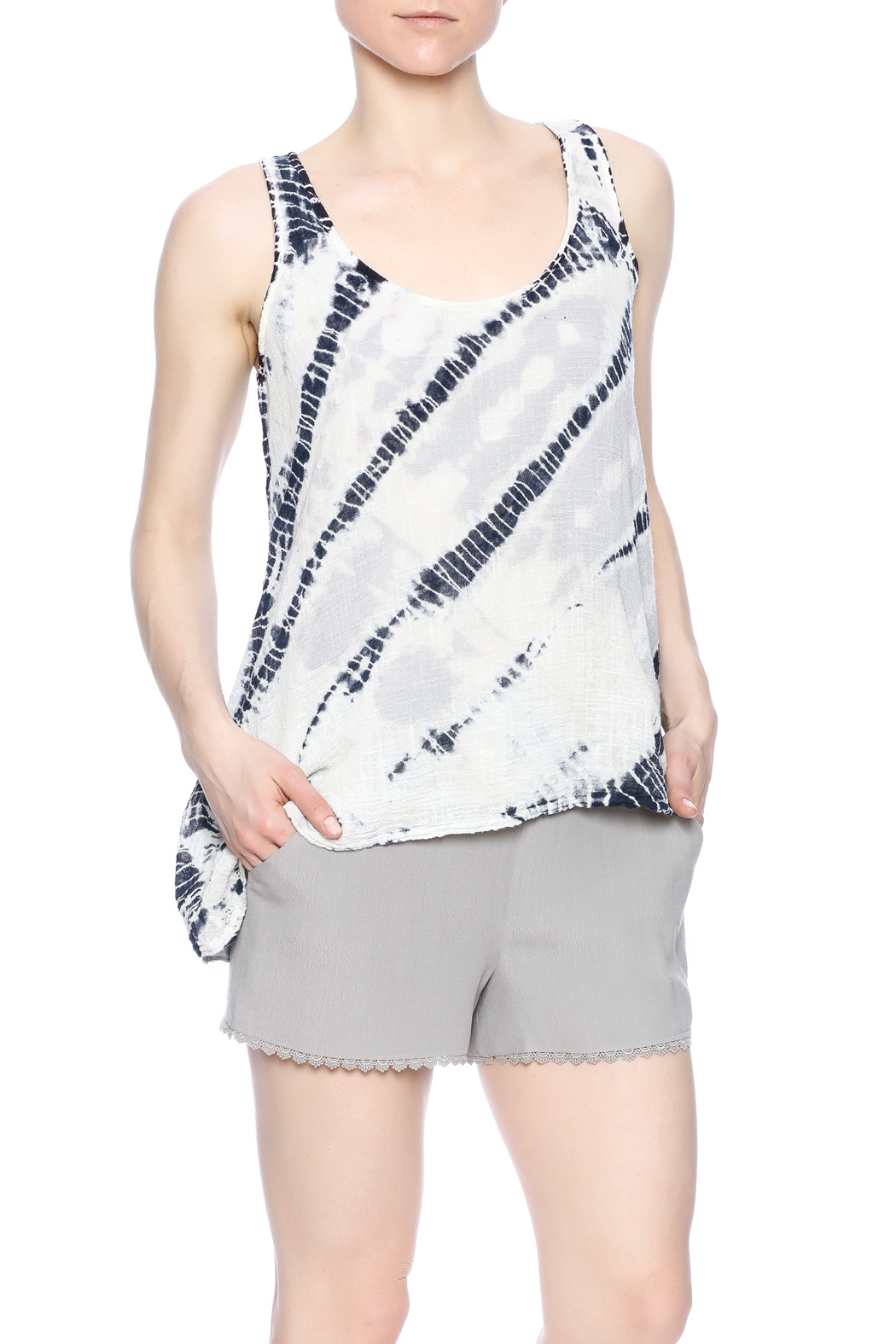 Hardtail Tie Dye Navy Tank - Front Cropped Image