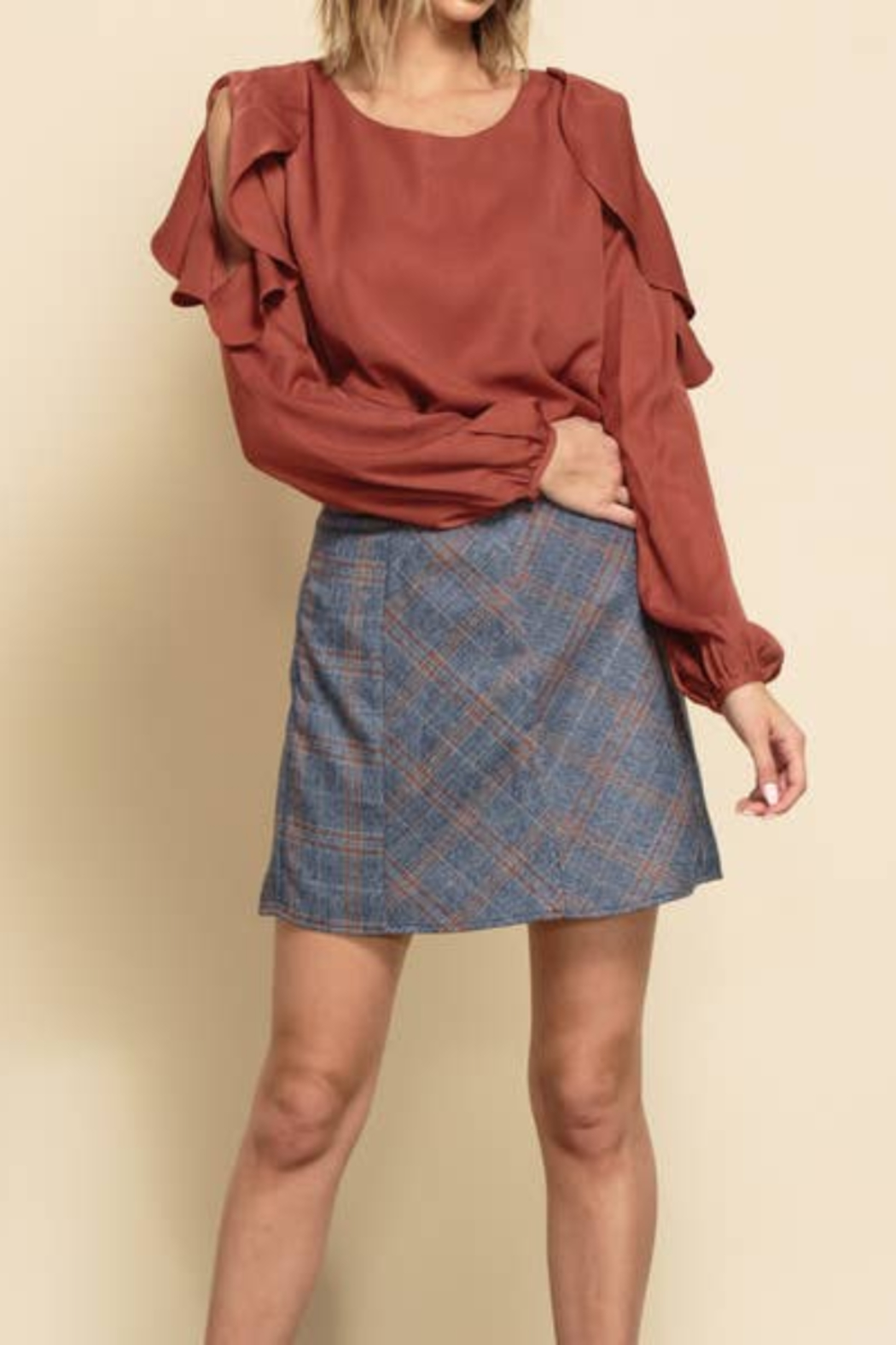 lucca couture Harley Contrast Panel A-Line Mini Skirt Denim Plaid - Main Image