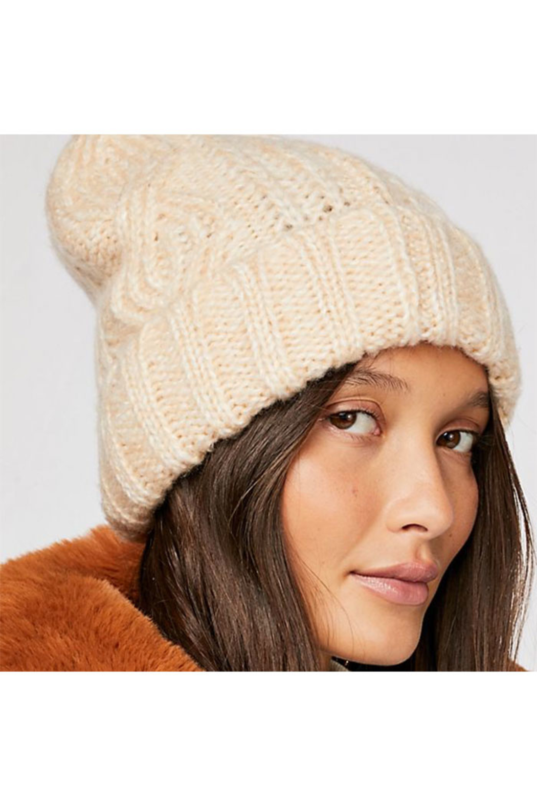 Free People Harlow Cable Knit Beanie Ivory - Front Cropped Image