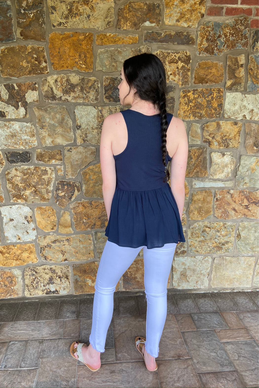 Others Follow  Harlow Ribbed & Button Tank - Front Full Image
