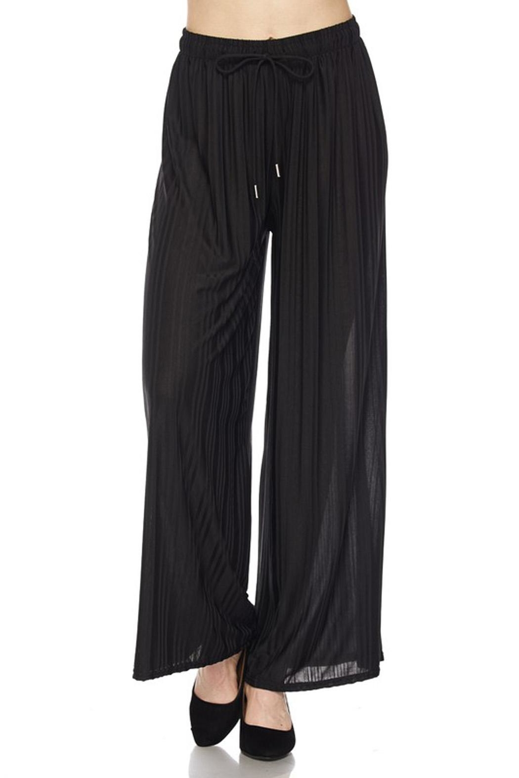 New Mix Harringbone Palazzo Pant - Front Cropped Image