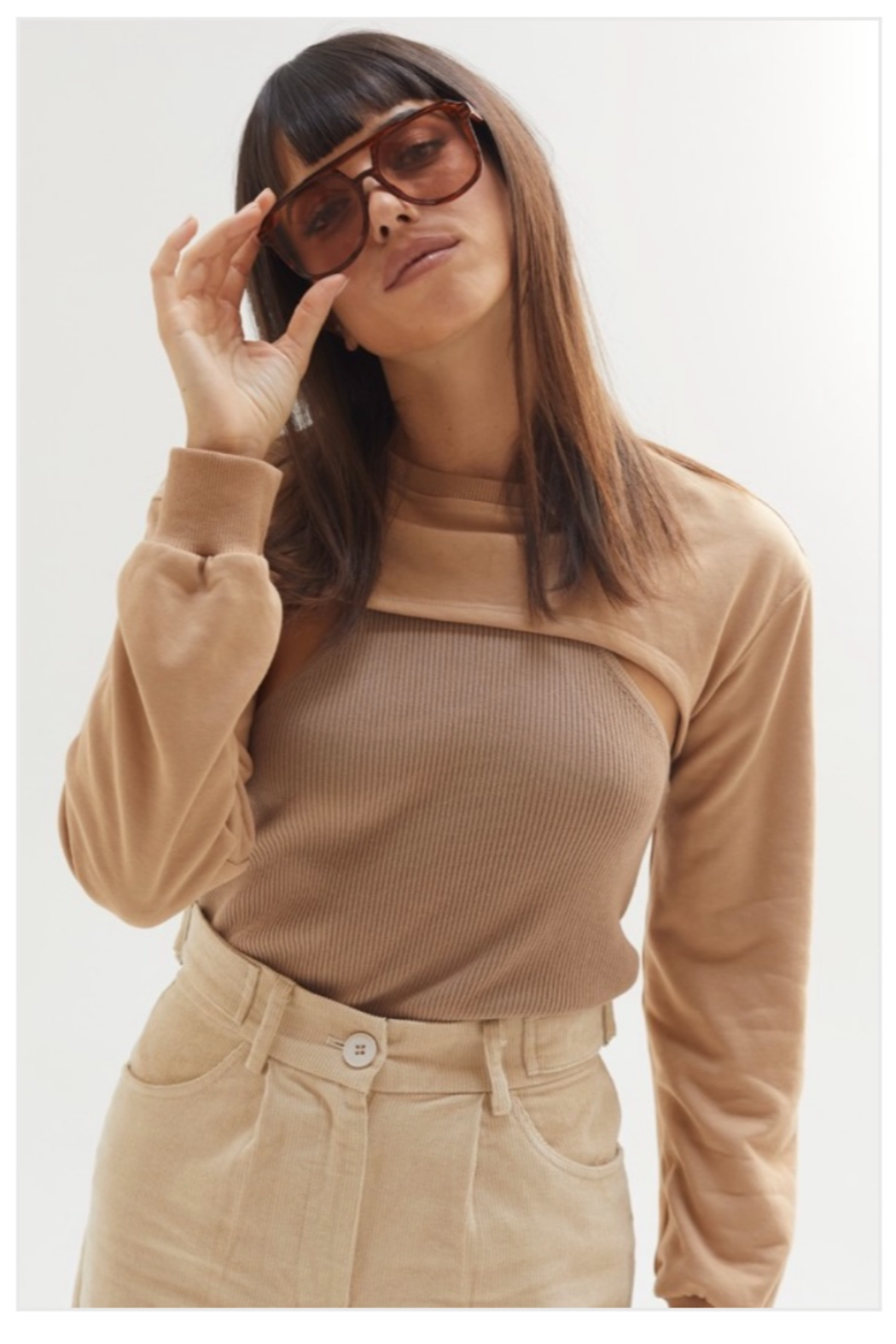 crescent Harris Cropped Sweatshirt, Olive and Camel - Main Image