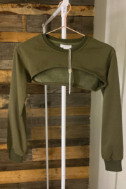 crescent Harris Cropped Sweatshirt, Olive and Camel - Back cropped