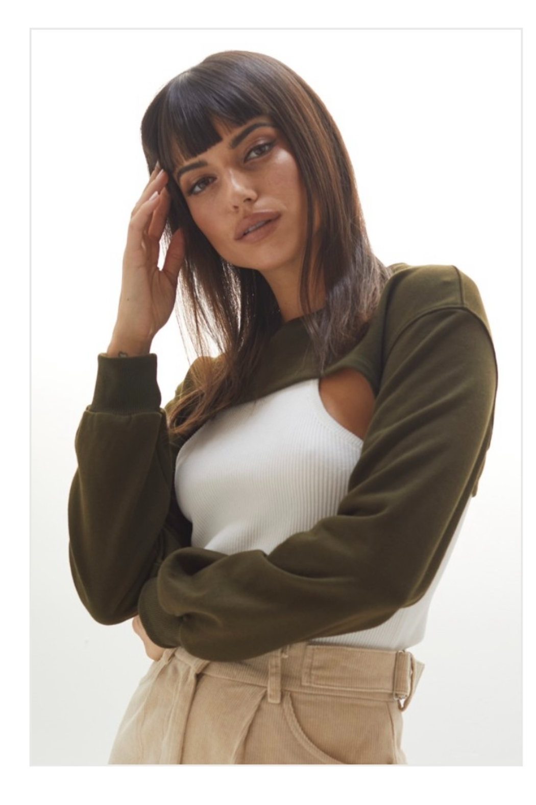 crescent Harris Cropped Sweatshirt, Olive and Camel - Front Cropped Image