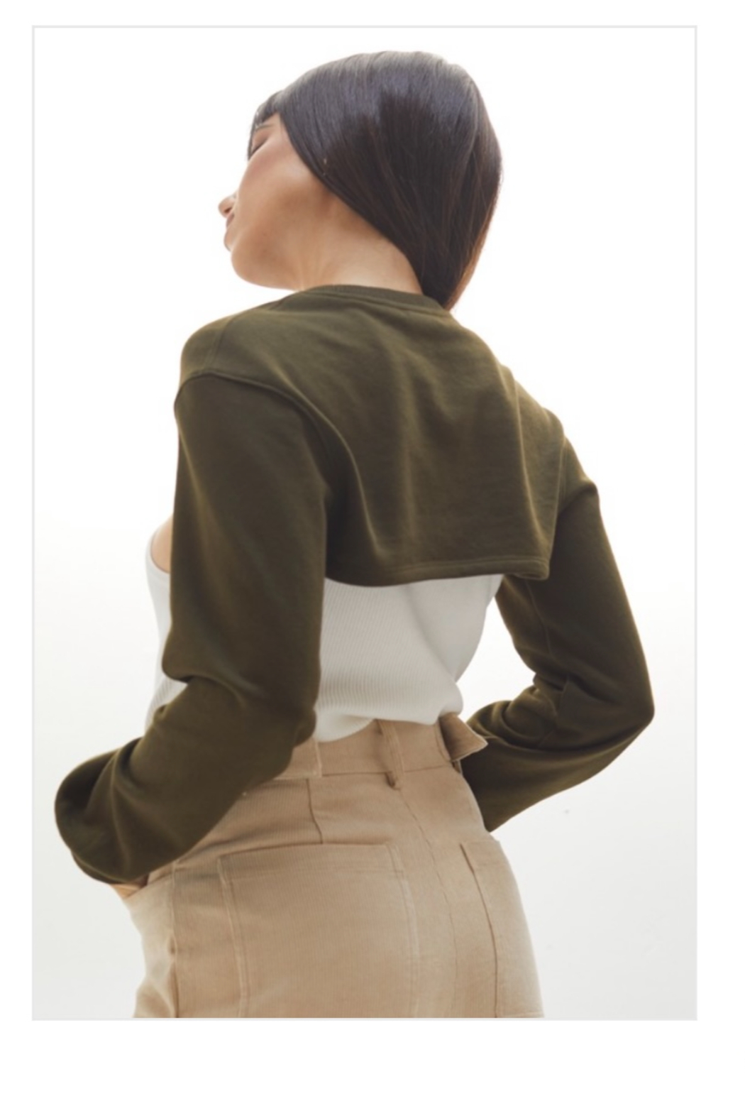 crescent Harris Cropped Sweatshirt, Olive and Camel - Side Cropped Image