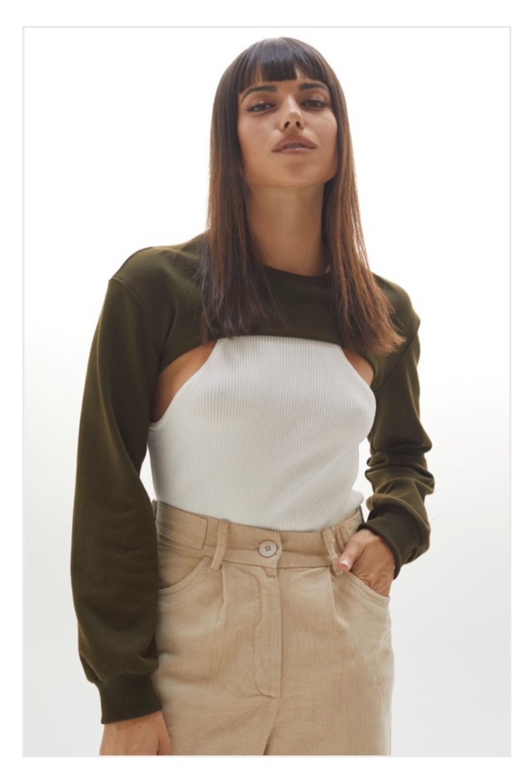 crescent Harris Cropped Sweatshirt, Olive and Camel - Front Full Image